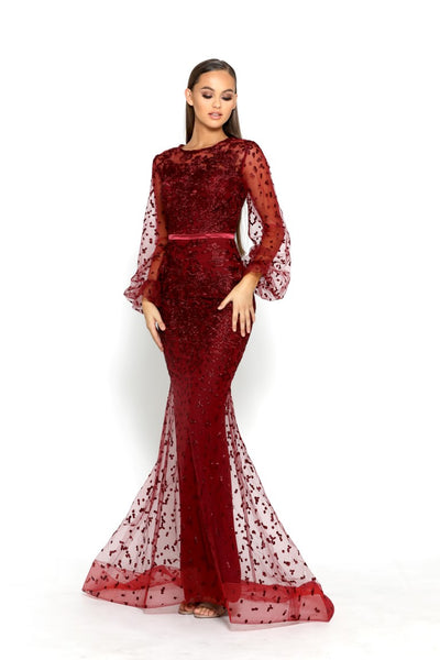 PS2064 BURGUNDY EVENING DRESS