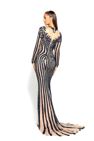 PS2066 NAVY EVENING DRESS
