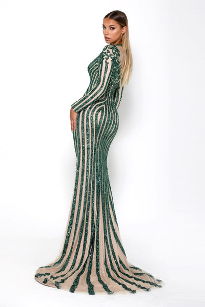 PS2066 EMERALD EVENING DRESS