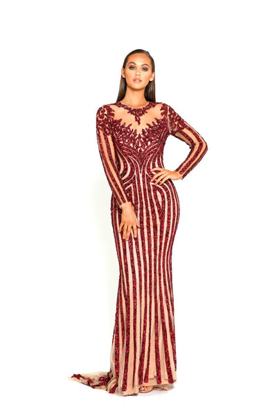 PS2066 RED EVENING DRESS