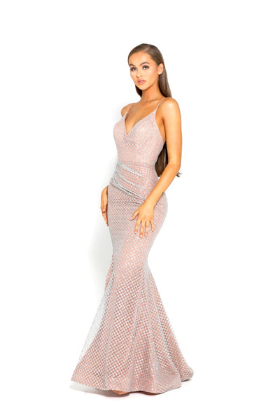 PS2070 GOWN SILVER NUDE
