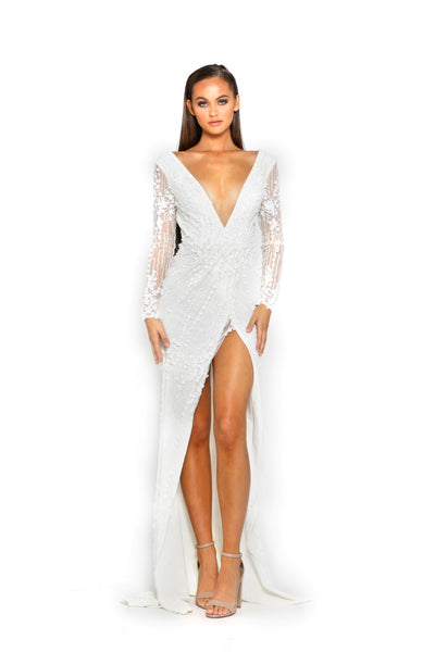 PS2071 WHITE EVENING DRESS