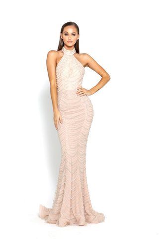 PS2073 SILVER BLUSH EVENING DRESS