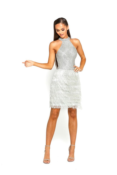 PS2074 SILVER COUTURE DRESS