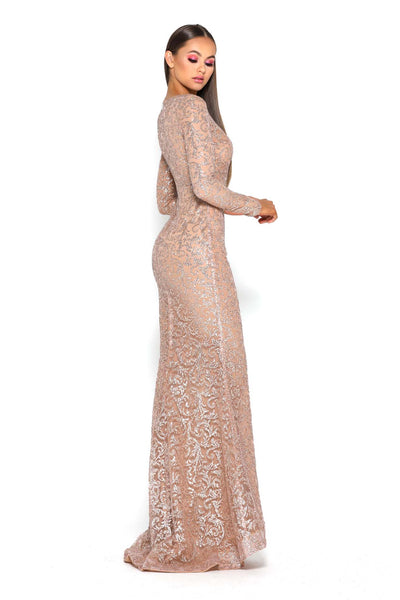 17022T LONG SLEEVES GOWN GOLD