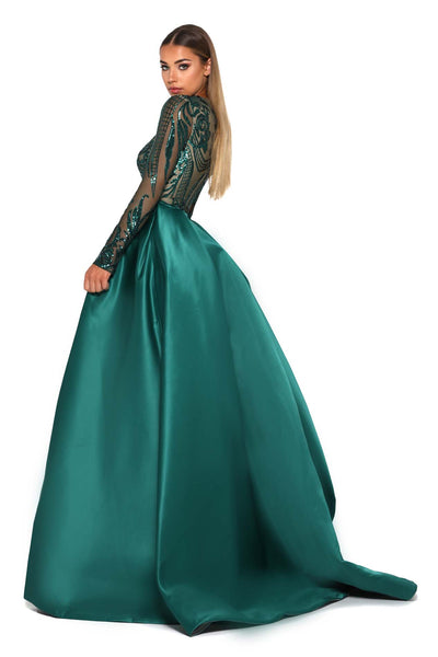 PS1705 LONG SLEEVES EMERALD GOWN