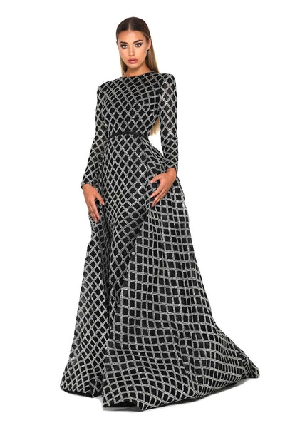 1744 SILVER BLACK LONG SLEEVES GOWN