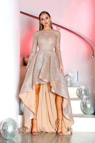 17999T LONG SLEEVES NUDE EVENING DRESS