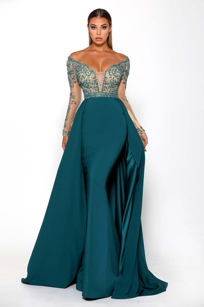 17JM EMERALD EVENING DRESS