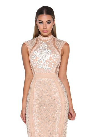 BALMAIN BEADED LONG HIGH BACK NUDE