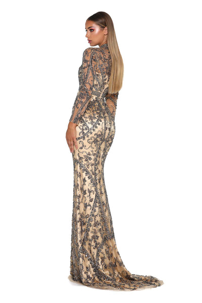 DOLCE LONG SLEEVES GUNMETAL EVENING DRESS