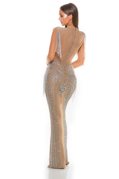 PS3003 SILVER NUDE COUTURE DRESS