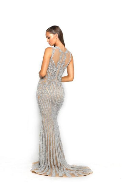 PS3007 SILVER NUDE COUTURE DRESS