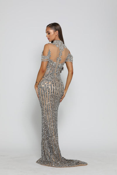 PS3019 SILVER NUDE COUTURE DRESS