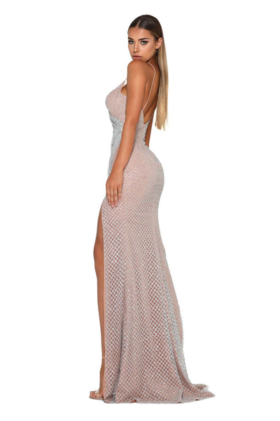 ROSABEL ZACHERY SILVER NUDE EVENING DRESS