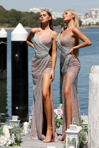 SARAH SILVER NUDE EVENING DRESS