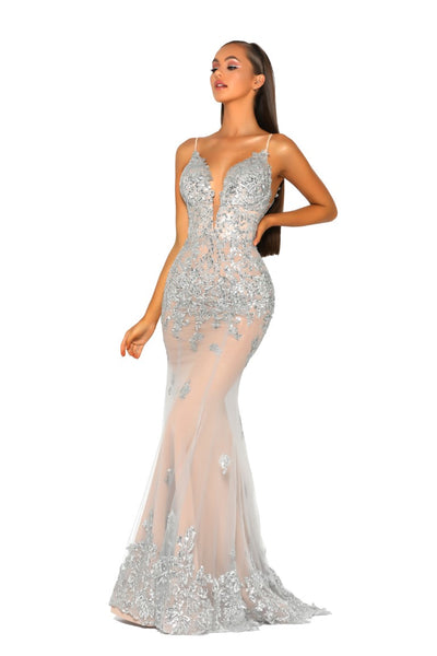PS5005 GOWN SILVER NUDE