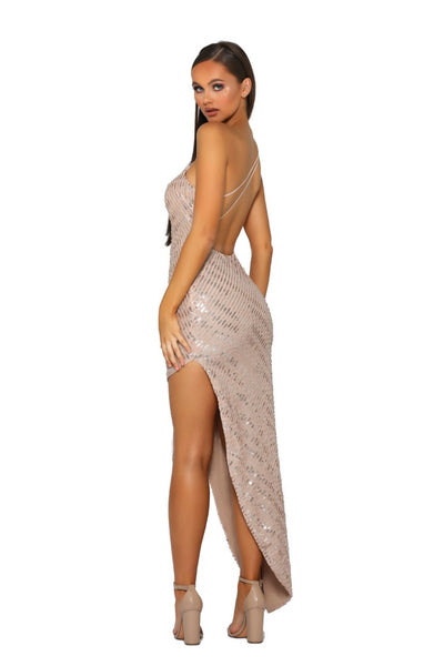 PS5052 GOWN NUDE SILVER