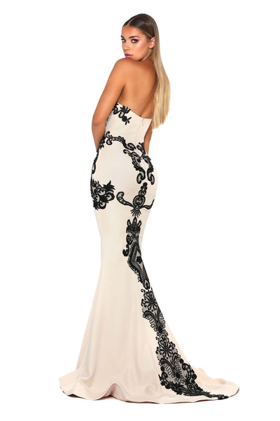 JASMINE GOWN CREAM BLACK