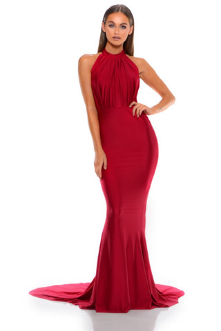 PS6179 DEEP RED DRESS