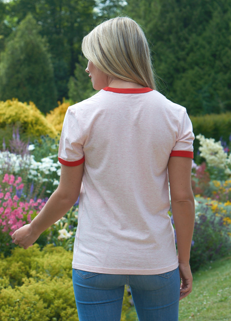 Heather Pink and Red Classic Tee