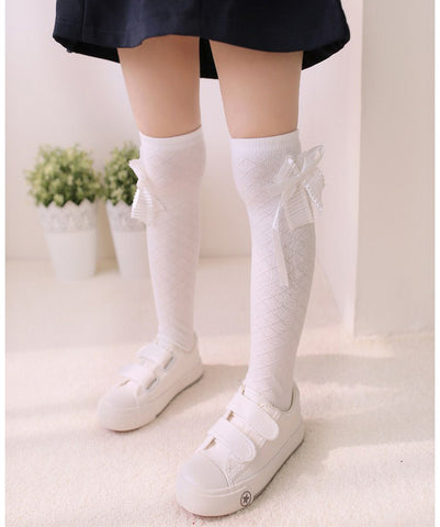 Bow Long Tube Socks Girls Stockings