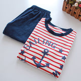Boy Pajamas Knitted Color Strips Stretch Jersey