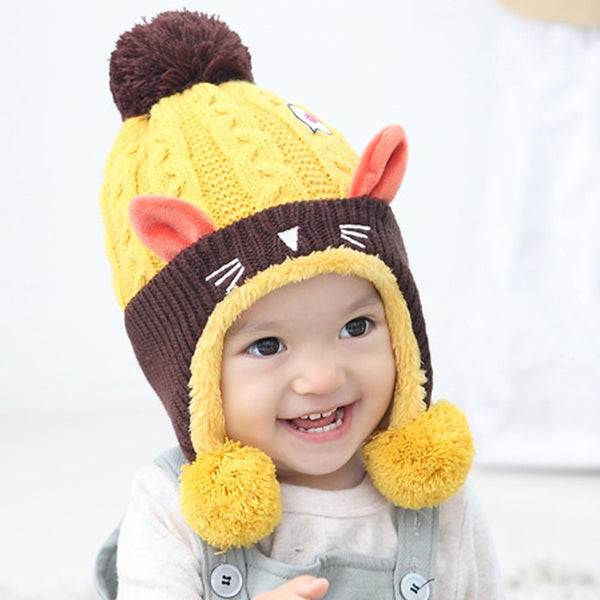 Boy Knitted Hat With Velvet Kitten Shape