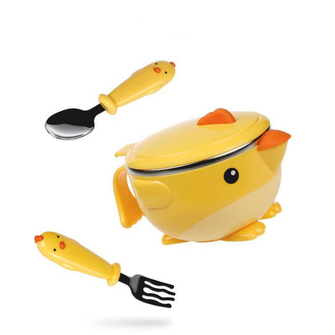 Stainless Steel Baby Insulated Suction Bowl 3pcs Set
