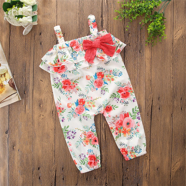 Summer Girls Floral Bow Jumpsuit