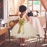 Children Sequins Bow Lace Dress