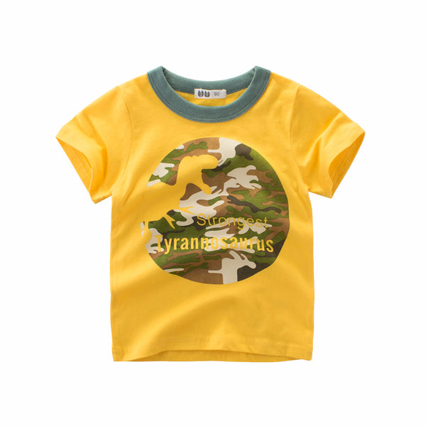 Boy Cotton Round Neck Cartoon T Shirt