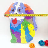 Pug Toy Alphabet & Number Wooden Puzzle Pieces Blocks