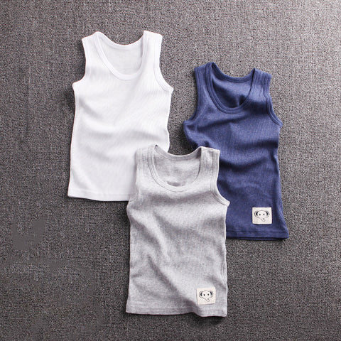 Boy's Vest Combo of Three in White Grey & Blue Color