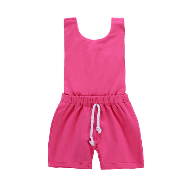 Children Backless Shoulder Strap Jumpsuit