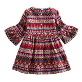 Cross Border Boho Girls Skirt Long Sleeved Dress