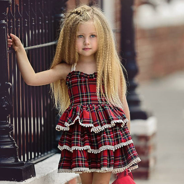Girl Lace Strap Dress Baby Plaid Fluffy Cake Skirt