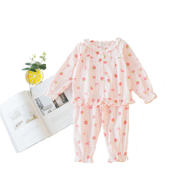 Girls Cotton Plaid Strawberry Night-track