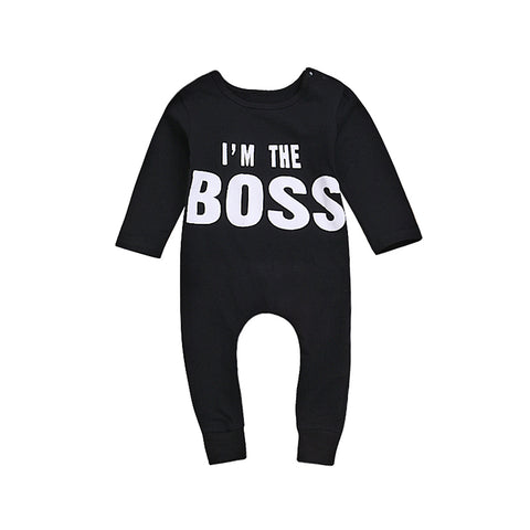 Boy Black Round Neck Long Sleeved Romper