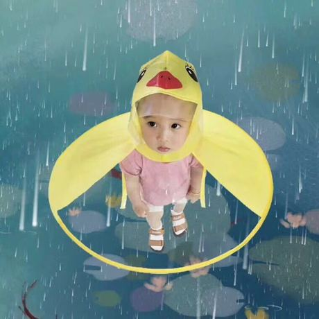 Waterproof Transparent Duck Raincoat Umbrella Cap for Kids