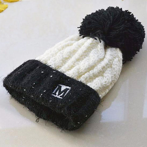 Boy Two Color Curling Knit Hat