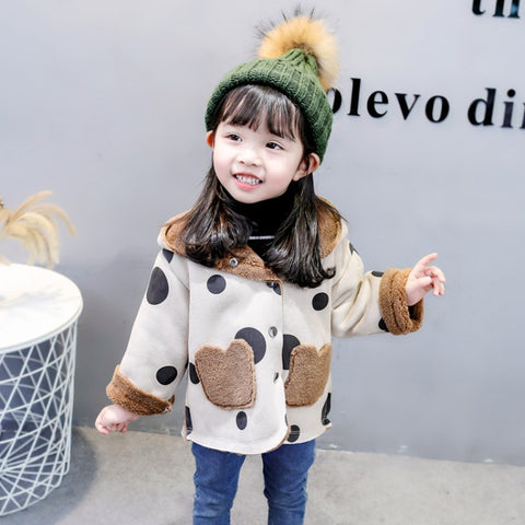 Children Deerskin Hooded Lamb Coat