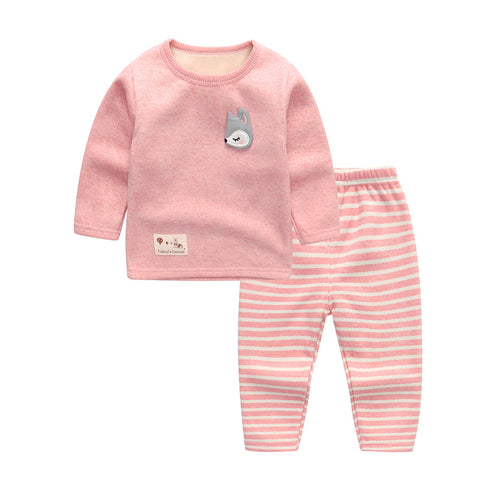 Children Thick Warm Underwear Set With Velvet