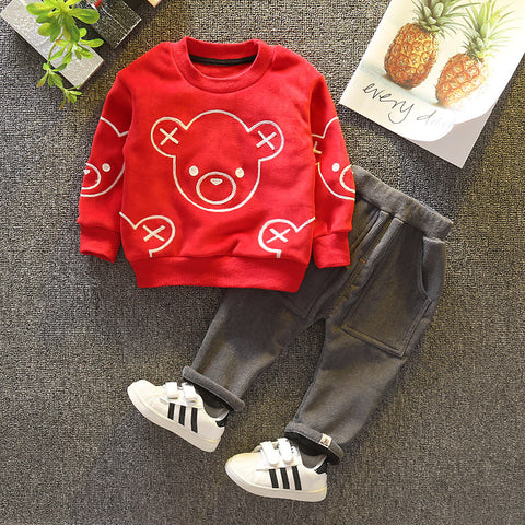 Boy Suit Double Sided Velvet Embroidered Bear