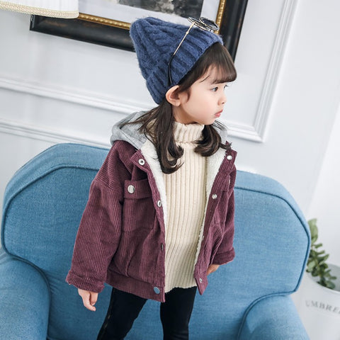Girl Casual Striped Embroidered Coat
