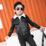 Boy Jacket Lapel Pu Leather Casual