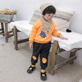 Boy Long Sleeved Suit With Velvet Patch