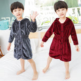 Boy Hooded Long Sleeve Flannel Pajamas