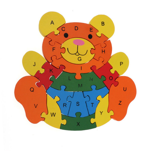 Teddy bear Shape Alphabet & Number Wooden Blocks for Kids