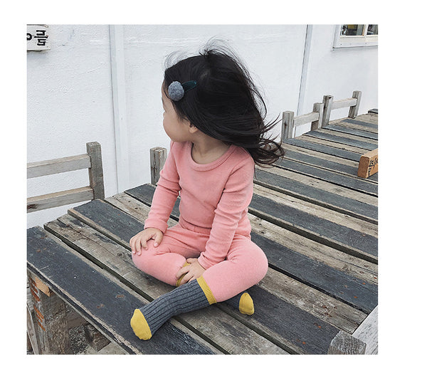 Children Solid Color Long-Sleeved Cotton Pajamas